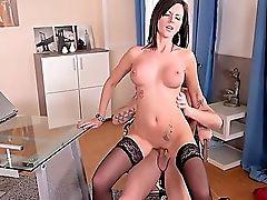 Big Tits, Blowjob, Brunette, Desk, Dick, Fake Tits, HD, Mature, Office, Pornstar,