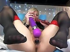 Amateur, Blond, Masturbatie, Milf, Seksspeeltjes, Kousen, Webcam,