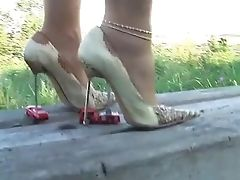 Car, High Heels, Nature, Nylon, Trampling,