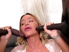 Ass, Big Black Cock, Big Cock, Big Tits, Blonde, Blowjob, Cowgirl, Cuckold, Cum, Cum On Tits,