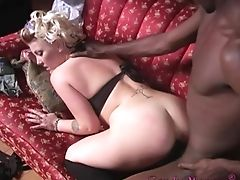 Black, Blonde, Blowjob, Couch, Curly, Doggystyle, Exhibitionist, Handjob, High Heels, MILF,