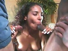 Big Tits, Black, Blowjob, Curly, Hardcore, Sexy, Threesome, Whore,