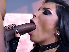 Big Black Cock, Big Tits, Black, Blowjob, Cherry Rain, Cum In Mouth, Deepthroat, HD, Interracial, Latex,