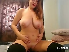 Big Tits, Brunette, Jerking, Masturbation, Model, Natural Tits, Naughty, Solo, Stockings, Webcam,