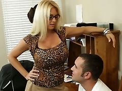 Big Tits, Blonde, Charlee Chase, Desk, Glasses, Hardcore, Mature, MILF, Office, Old,