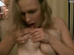 Blonde, Bra, Horny, Lactating, Model, Natural Tits, Panties, Solo, Tattoo, Webcam,