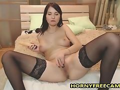 Babe, Masturbation, Model, Natural Tits, Shaved Pussy, Solo, Thong, Tight Pussy, Webcam,