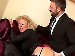 Blonde, Blowjob, Clamp, Clothed Sex, Couple, Doggystyle, Fingering, Hardcore, MILF, Nylon,