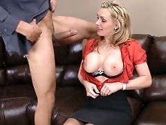 Big Tits, Black, Blonde, Clothed Sex, Couch, Dick, Hardcore, Huge Tits, Licking, Lingerie,