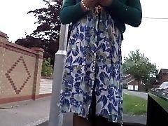 Dress, Lingerie, Nylon, Outdoor, Stockings, Upskirt, Voyeur,