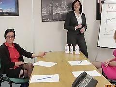 Blonde, Brunette, Business Woman, CFNM, Dick, Fondling, Glasses, Handjob, MILF, Office,