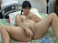 Chubby, Dirty, Glasses, Jerking, Masturbation, Model, Natural Tits, Ponytail, Sex Toys, Solo,