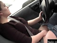 Amateur, Brunette, Car, Masturbation, Pussy, Rubbing, Sexy, Softcore, Solo, Wet,