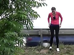 Babe, Latex, Outdoor, Pissing, Public,