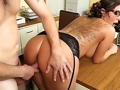 American, Big Ass, Big Tits, Bobcat, Bold, Brunette, Cougar, Cute, Desk, From Behind,